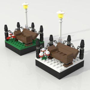 park bench minifigure vignette